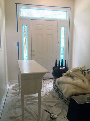 s 12 clever tricks to turn builder grade doors into custom made beauties, doors, Paint the surrounding wall with a stencil