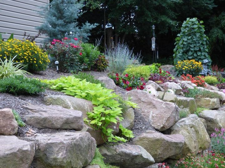 rustic rock wall, gardening, how to, landscape