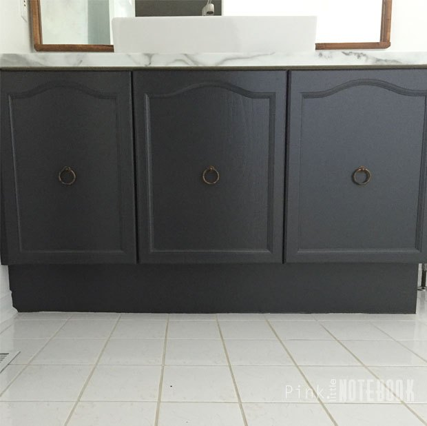 Updating Laminate Bathroom Cabinets: A Husband And Wife Update Their Bathroom. They Cover The