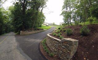 driveway entrance landscape renovation, concrete masonry, landscape