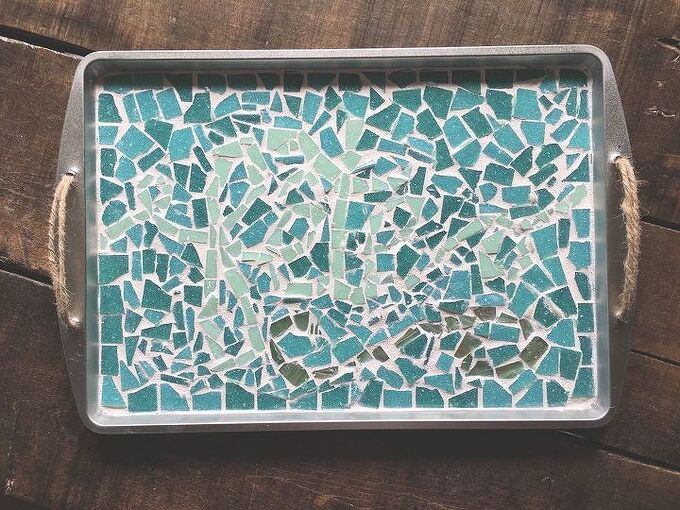 mosaic cookie sheet serving tray, crafts, how to