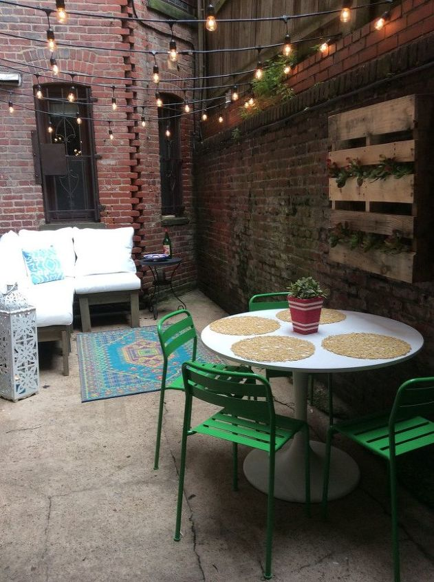 diy city patio, home decor, how to, outdoor living, painted furniture, pallet, patio, repurposing upcycling, succulents, tools, reupholster