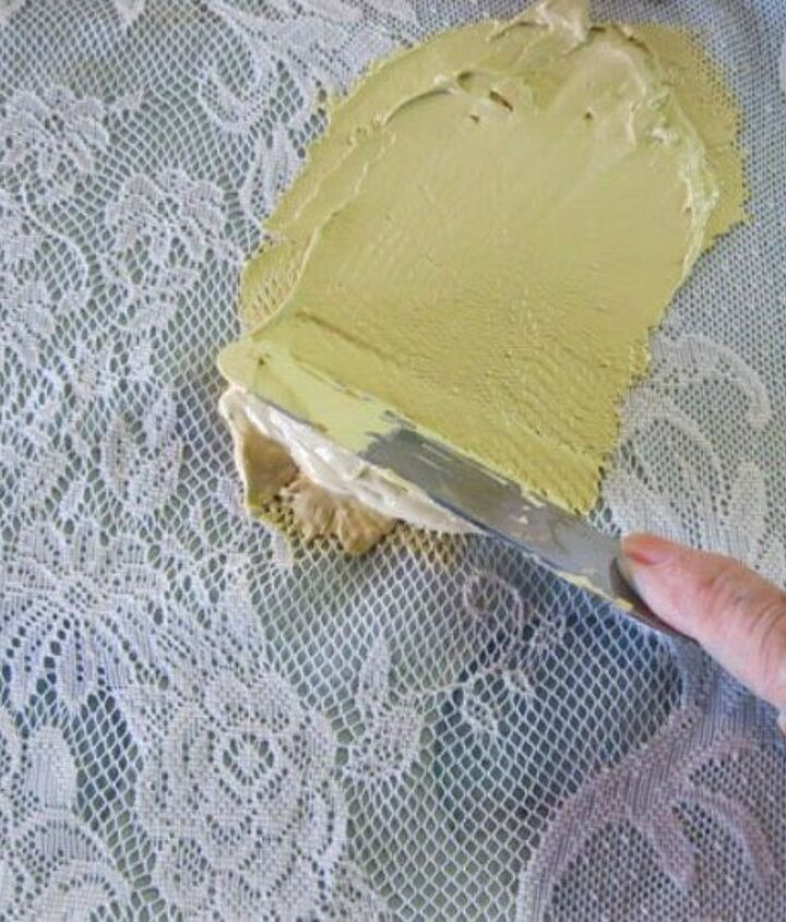 s 11 jaw dropping decorating techniques you ve never seen before, crafts, painting, painting wood furniture, Make a lace design on wood pieces with icing