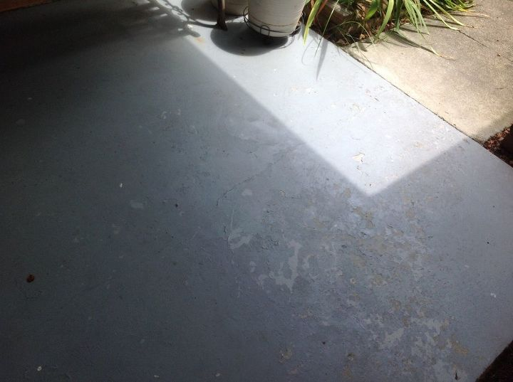 q painting cement floor of my covered porch , concrete masonry, flooring, outdoor living, porches, Peeling paint on cement porch floor