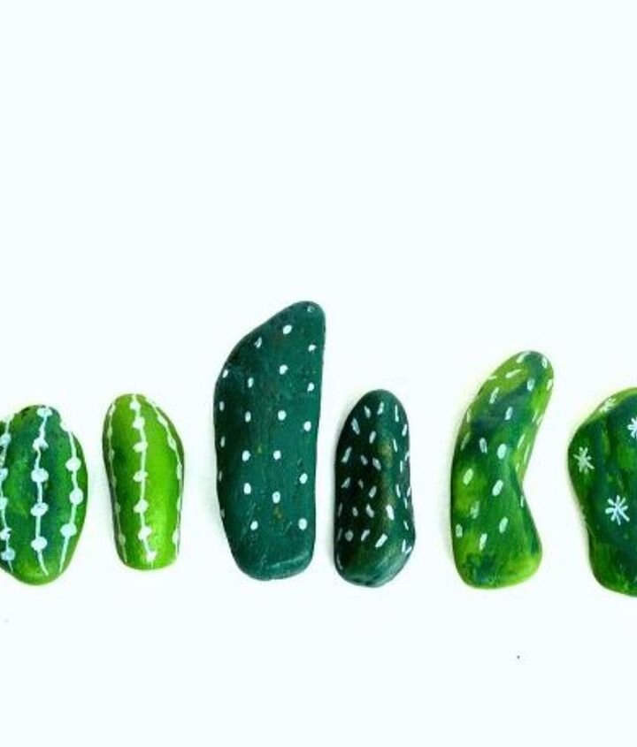 painted rock cactus centerpieces, container gardening, crafts