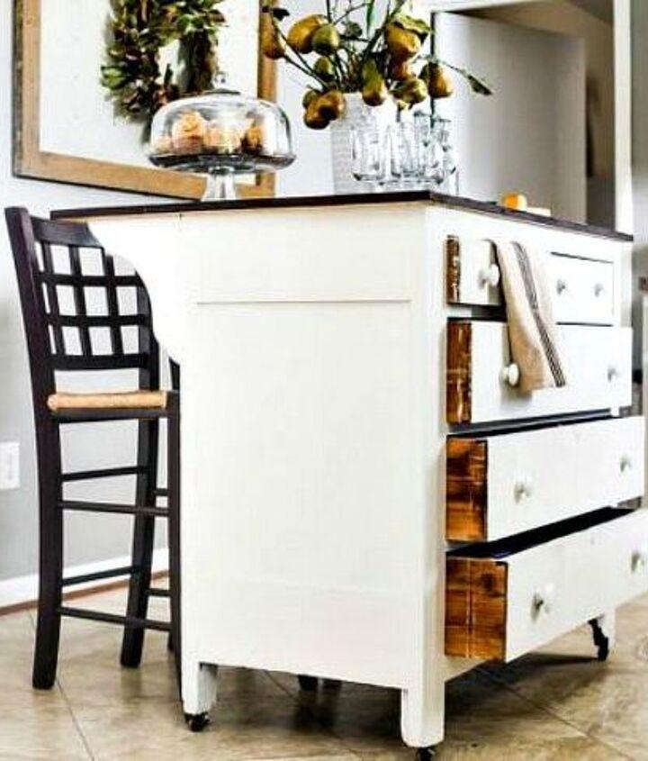 s 11 storage hacks that will instantly declutter your kitchen, kitchen design, organizing, storage ideas, Transform a dresser into a kitchen island
