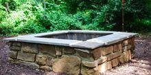 diy stone firepit, concrete masonry, outdoor living