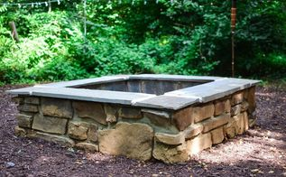 diy stone firepit, concrete masonry, outdoor living