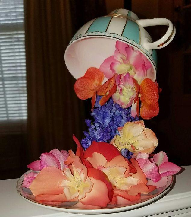 Silk flower crafts images flower decoration ideas overflowing teacups with silk flowers hometalk overflowing teacups with silk flowers crafts repurpose household items mightylinksfo mightylinksfo