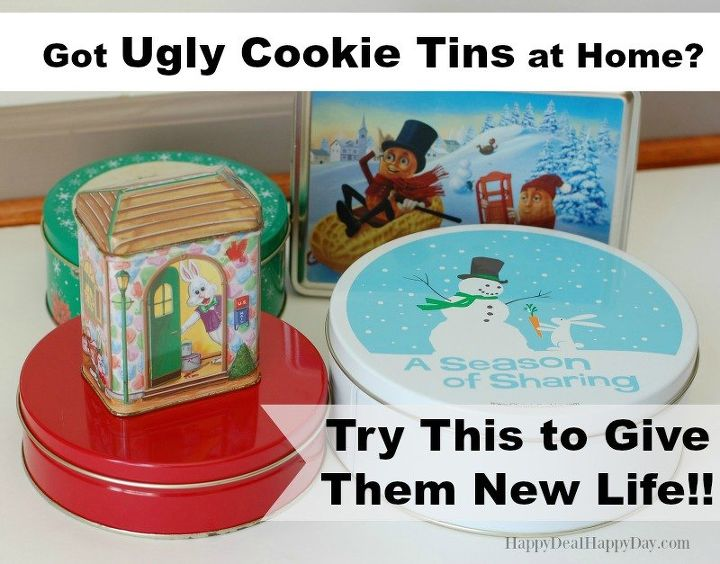 turn those ugly cookie tins into an adorable re usable gift box , crafts, painting
