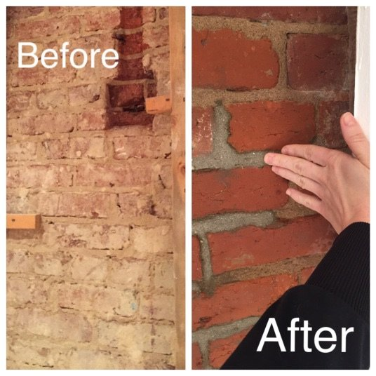 Exposing cleaning a 100 year old brick wall hometalk for How to clean interior stucco walls