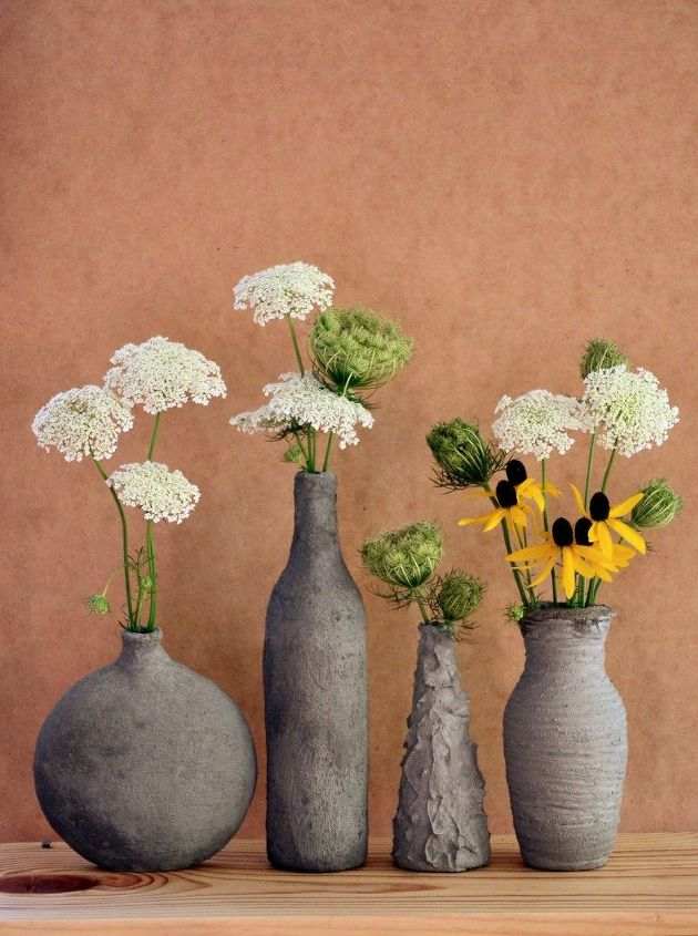 How To Turn Glass Bottles Into Cement Vases The Easy Way Hometalk