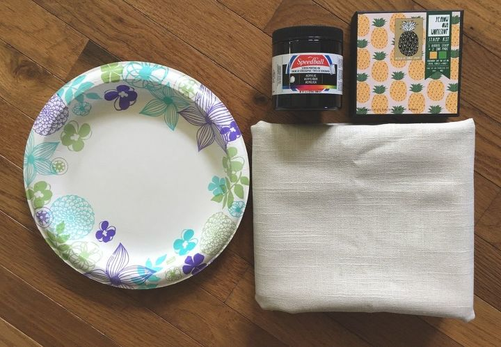 stamped tablecloth, crafts