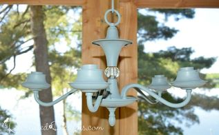 turning a chandelier found at the dump into porch lighting, lighting, painting, porches