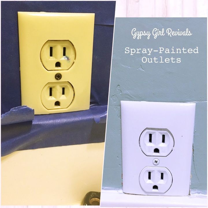 update discolored outlets with spray paint, painting