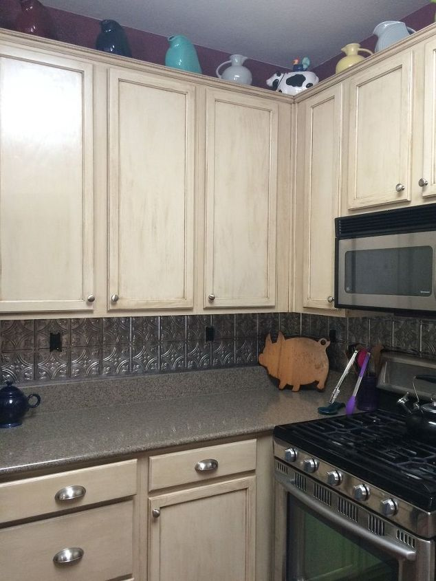 s 13 kitchen paint colors people are pinning like crazy, kitchen design, paint colors, Create a vintage look with washed out cabinet