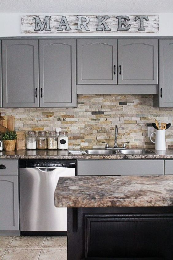 s 13 kitchen paint colors people are pinning like crazy, kitchen design, paint colors, Add some grey into your kitchen