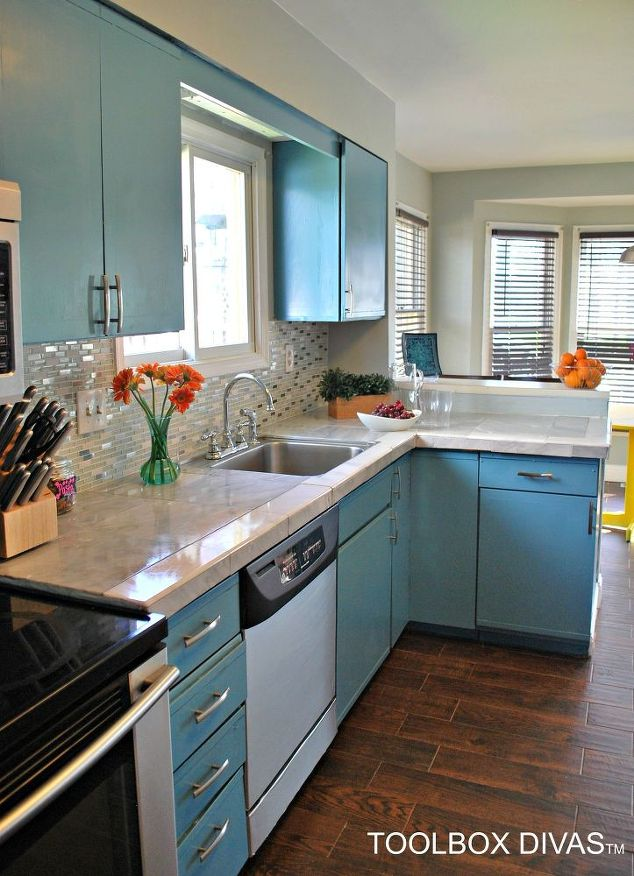 Paint cloud blue on your cabinets