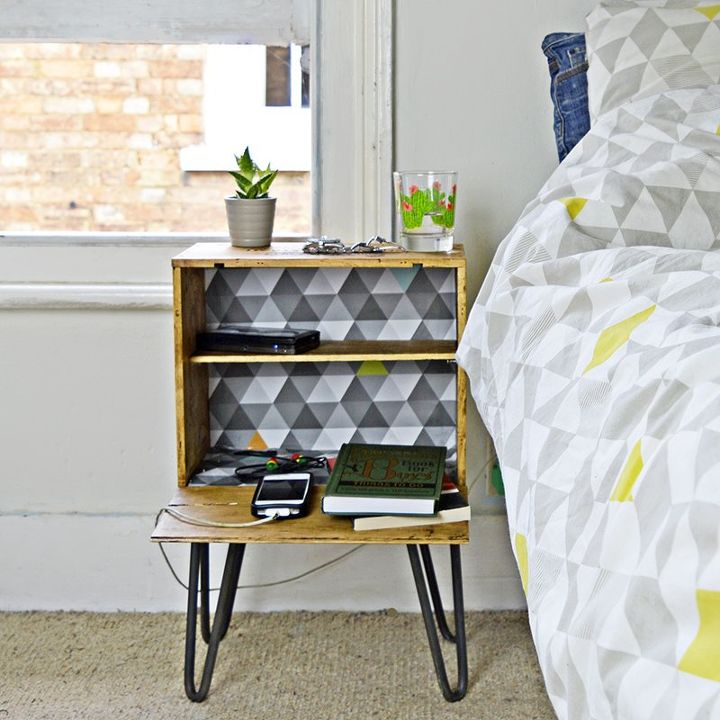 upcycled wine crate box into nightstand, bedroom ideas, decoupage, repurposing upcycling, rustic furniture