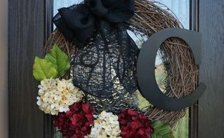 monogram wreath in under 30 minutes, crafts, hydrangea, wreaths