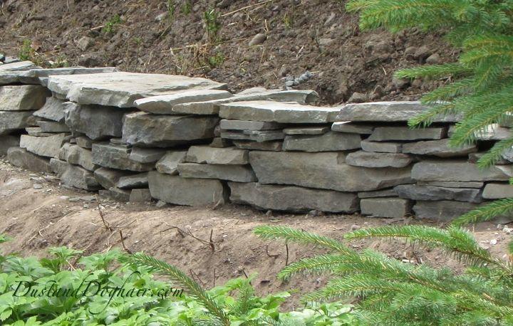 diy stacked stone garden wall, concrete masonry, landscape, outdoor living