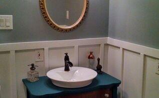repurposed vanity in navy with nautical elements, bathroom ideas, repurposing upcycling