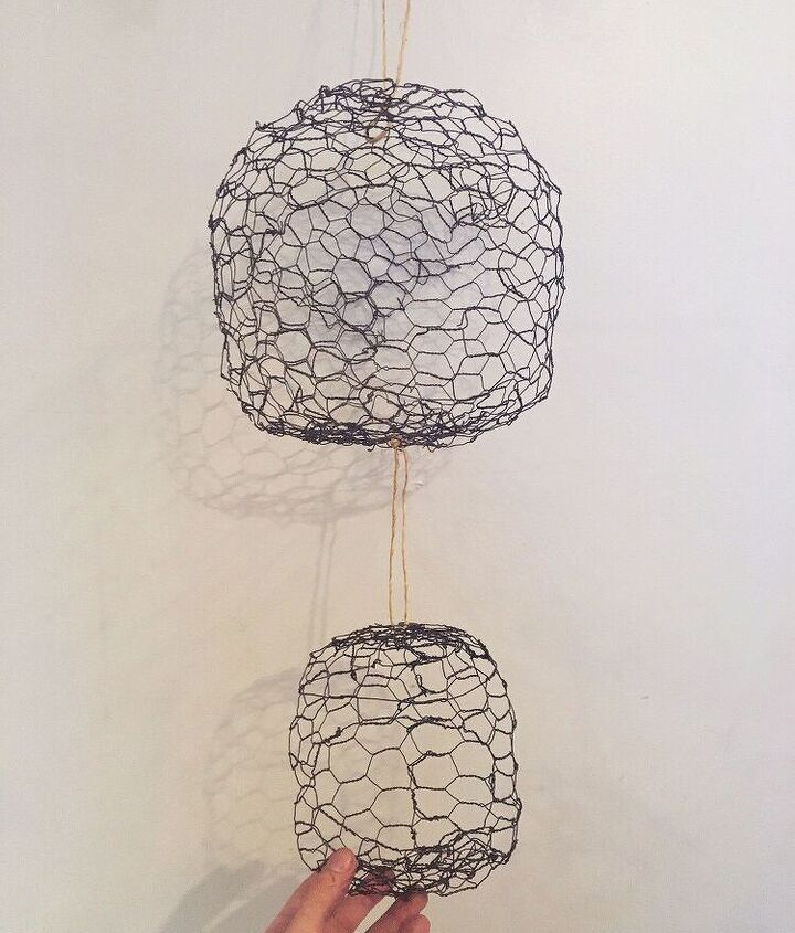 hanging chicken wire fruit produce baskets, crafts, home decor, kitchen design, storage ideas