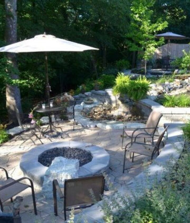 s here s what people are doing with their sloped backyards, gardening, landscape, Separate levels with gardens and trees