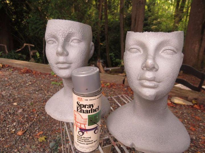 styrofoam garden pot people july challenge, crafts, gardening
