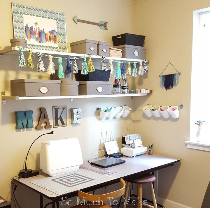 small space sewing room makeover, organizing, shelving ideas, storage ideas