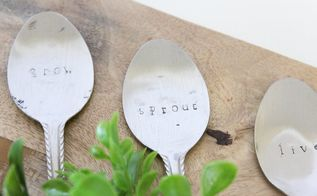 diy stamped spoon plant markers, crafts, gardening, repurposing upcycling