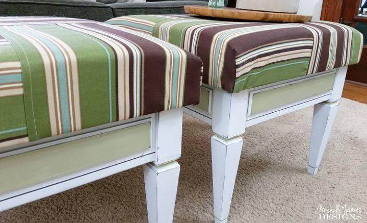 i needed ottomans so i used flea market tables, painted furniture, repurposing upcycling, reupholster
