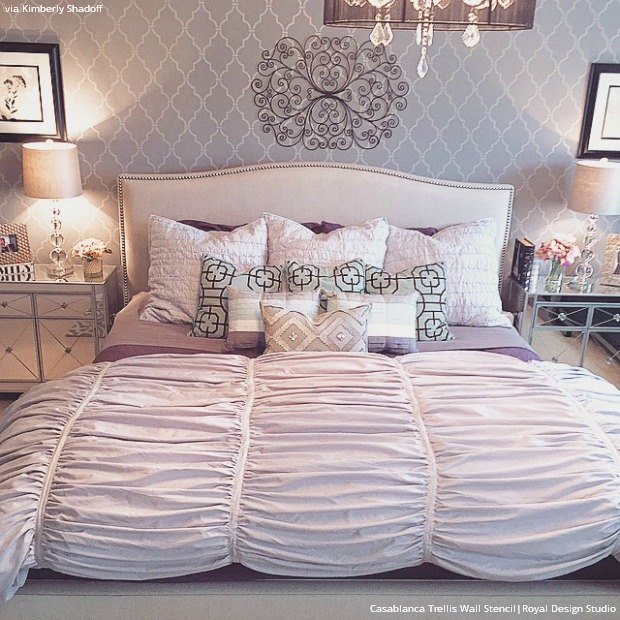 Stencil Ideas For A Dreamy Romantic Bedroom Painting Wall Decor