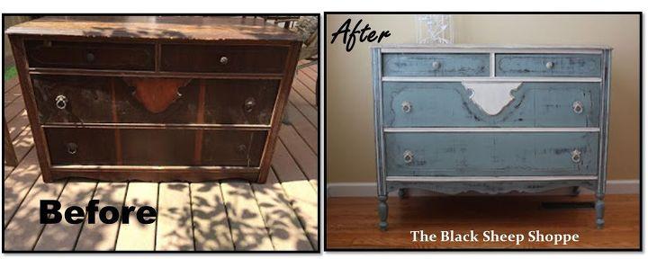 vintage dresser was missing legs, painted furniture