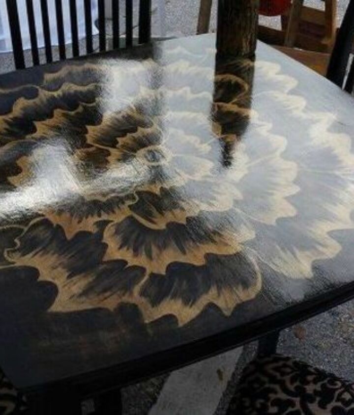 s 15 magical furniture flips using nothing but unicorn spit stain, painted furniture, Sketch a design on your kitchen table