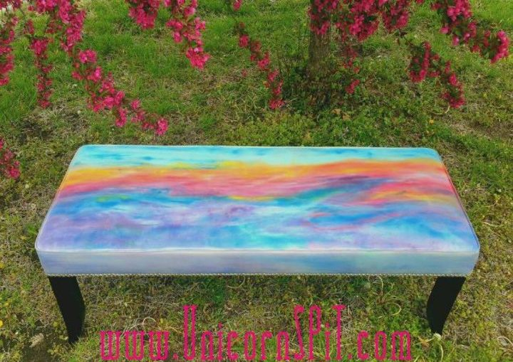 s 15 magical furniture flips using nothing but unicorn spit stain, painted furniture, Tie dye an old fabric bed bench
