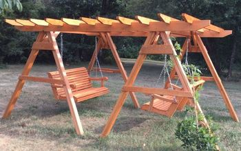double swing wisteria pergola, flowers, outdoor living, woodworking projects, A great place to talk on the phone or read on