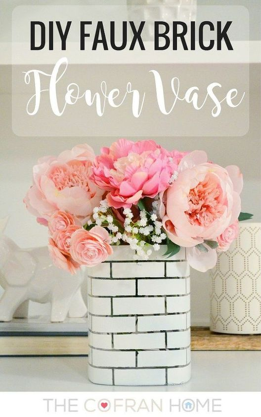 diy faux brick flower vase, container gardening, crafts, painting