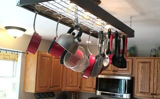 industrial pot rack creative pan handling , kitchen design, organizing