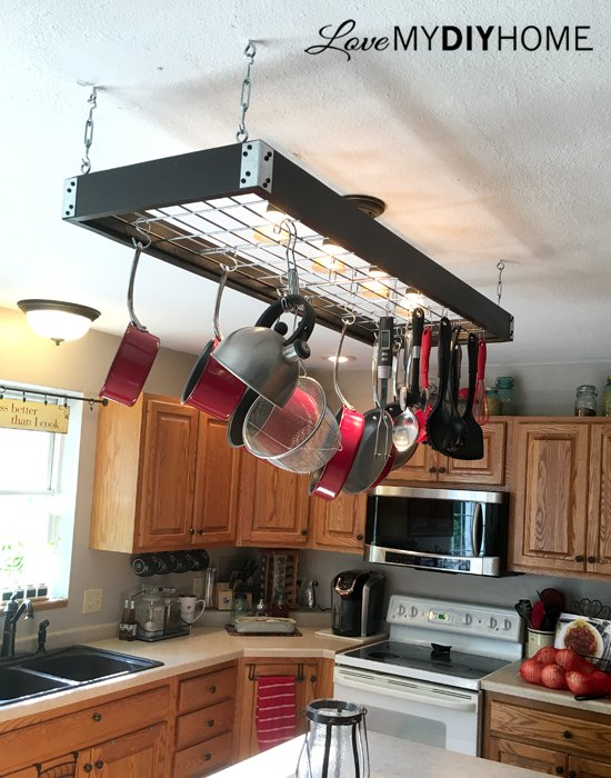 Industrial Pot Rack Creative Panhandling Hometalk - Kitchen pot rack light fixtures