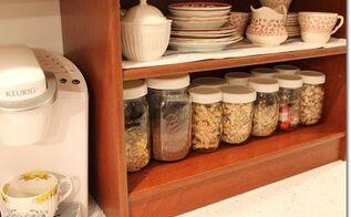 easy inexpensive mason jar makeover white lids , crafts, mason jars, organizing