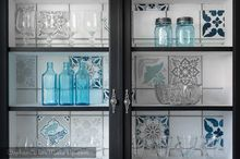 upcycled glass cabinet, kitchen cabinets, kitchen design, painted furniture, Faux stencilled glass cabinet