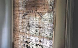 burlap bag curtain, crafts, home decor, window treatments