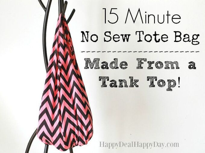 15 minute no sew tote bag made from a tank top , crafts, how to, repurposing upcycling