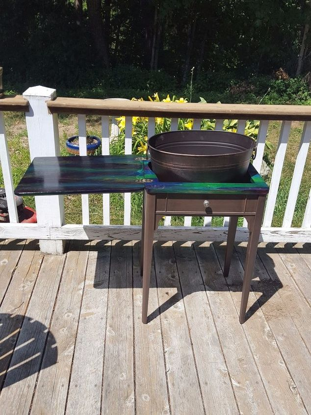 giving a tired old sewing stand new life , painted furniture