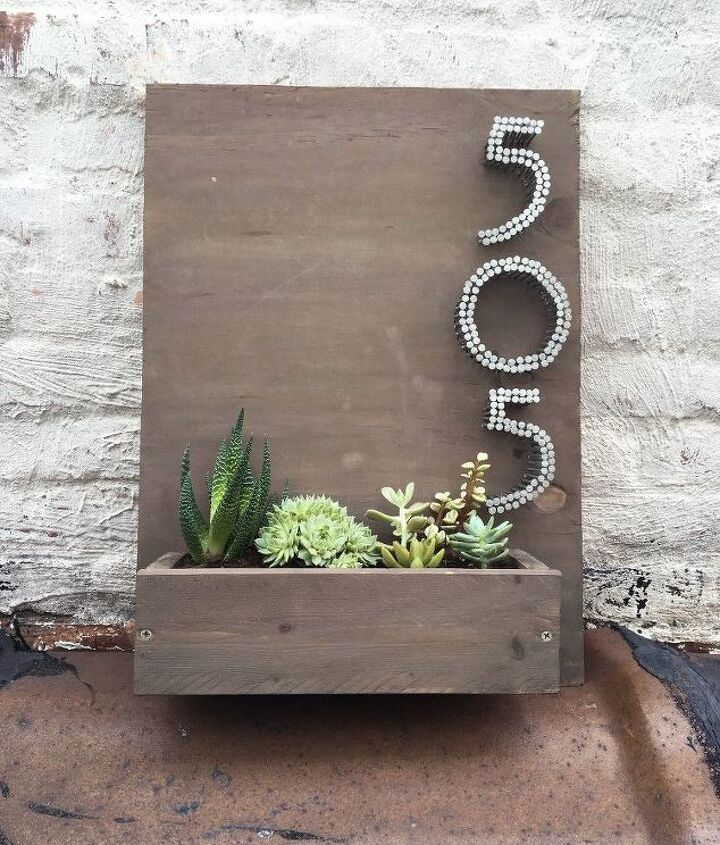 planter house number, container gardening, flowers, gardening, woodworking projects