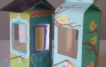milk carton and juice carton bird feeder, crafts, how to, painting, pets animals, repurposing upcycling