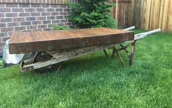 rustic wheel barrow coffee table, repurposing upcycling