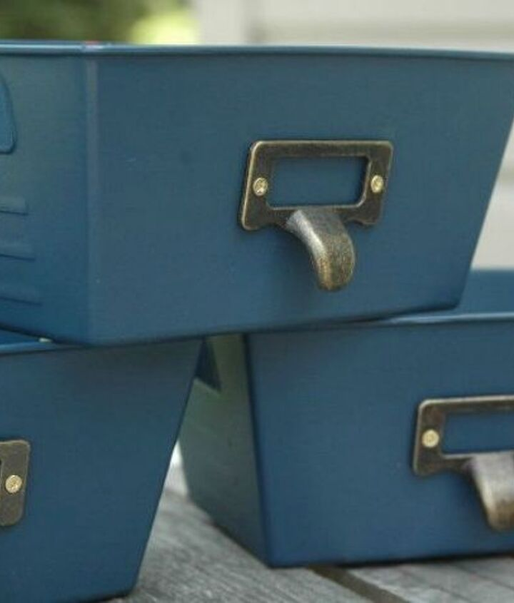 s 10 clever ways to decorate plastic bins, home decor, storage ideas, Add metal pulls for a real locker look