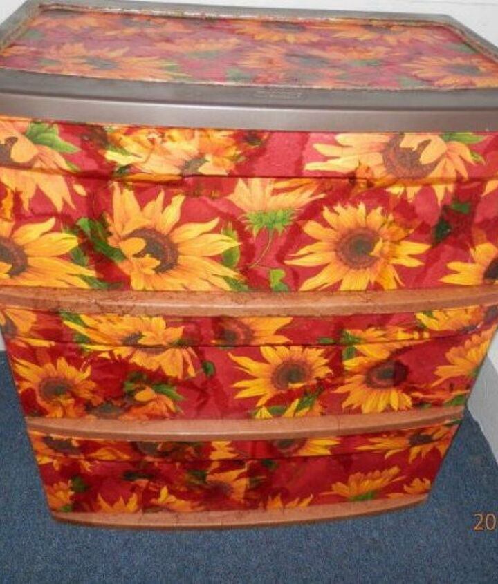 s 10 clever ways to decorate plastic bins, home decor, storage ideas, Modge Podge intricate napkins